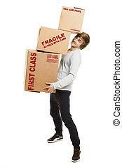 boîtes, tenue, carte, homme
