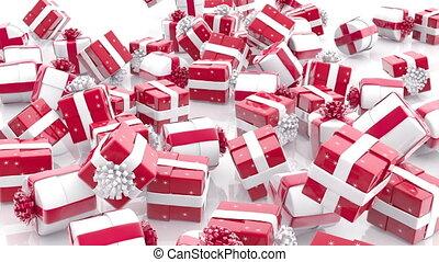 boîtes, tomber, cadeau, noël