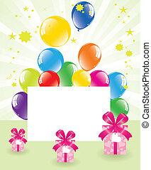 boîtes, vecteur, ballons, cadeau, fête