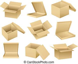 boîtes, vecteur, ouvert, vide, collection