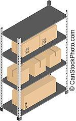 boîtes, vecteur, stockage, étagères