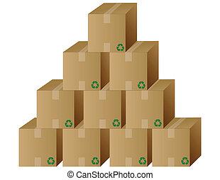 boîtes, vecteur, tas, /