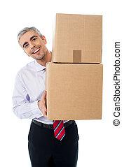 boîtes, vieilli, tenue, carton, homme