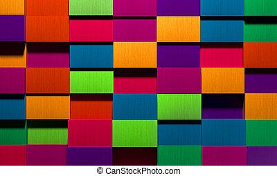 boîtes, vif, fond, multicolore
