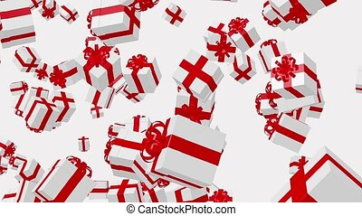 boîtes, voler, blanc, cadeau