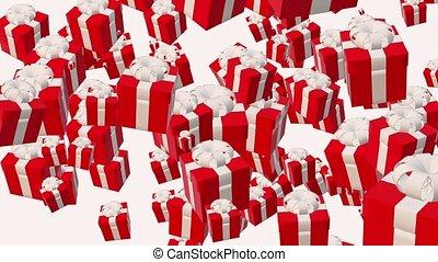 boîtes, voler, cadeau, rouges