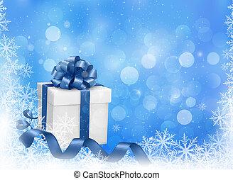 boże narodzenie, błękitne tło, z, dar boks, i, snowflakes.,...