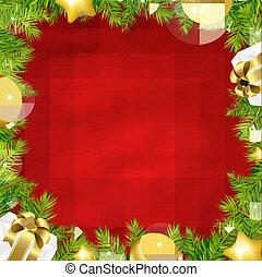 boże narodzenie, czerwone tło, z, drzewo jodły, brzeg