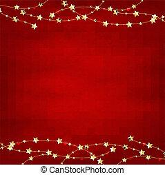 boże narodzenie, czerwony, retro, tło, z, złoty, gwiazdy, girlanda