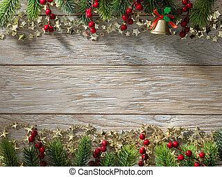 boże narodzenie, drzewo jodły, na, drewno, texture., tło, stary, poduszeczki