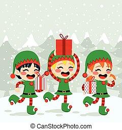 boże narodzenie, elfy, transport, przedstawia się