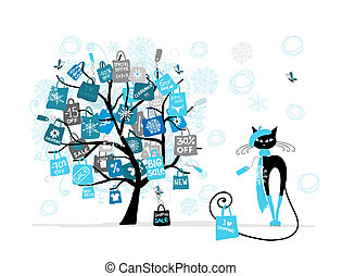 boże narodzenie, fason, zakupy, drzewo, sprzedaż, kot, torba, projektować, twój