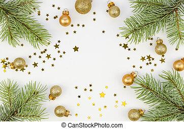 boże narodzenie, górny, kopia, ułożyć, mockup, gwiazdy, płaski, prospekt, gałęzie, ozdoby, boże narodzenie, tło., jodła, złoty, złoty, przestrzeń, biały, pieśń