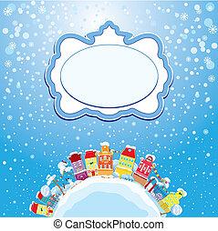boże narodzenie i nowe wakacje roku, karta, z, mały, wróżka, miasto, na, lekki błękitny, niebo, tło, z, dekoracyjny, barwny, domy, w, zima, time.