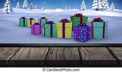 boże narodzenie, kabiny, cyfrowy, drewniana deska, śnieg, spadanie, na, wieloraki, ożywienie, dar