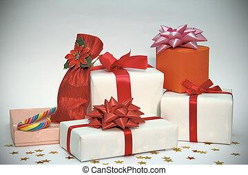 boże narodzenie, kabiny, dar