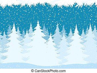 boże narodzenie, las, krajobraz, seamless