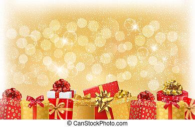 boże narodzenie lekkie, tło, z, dar boksuje, i, snowflake.,...