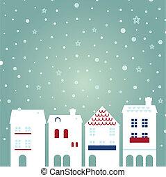 boże narodzenie, miasto, na, snowing, tło