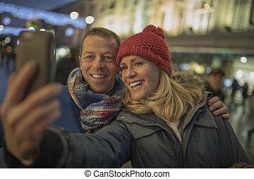 boże narodzenie, miasto, selfie