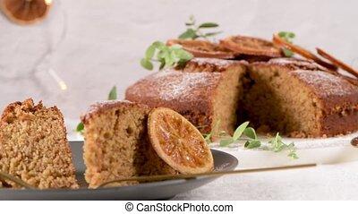 boże narodzenie, pokrojony, ciastko, pomarańcza