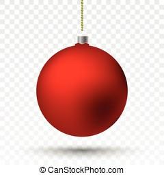 boże narodzenie, przeźroczysty, ball., czerwony