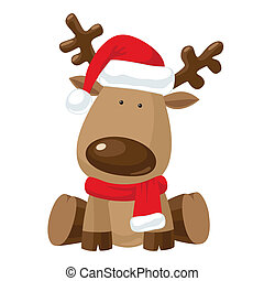 boże narodzenie, renifer, w, santa`s, czerwony kapelusz