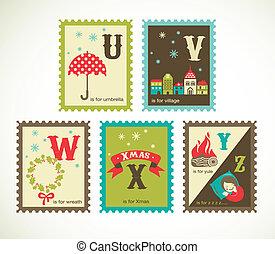 boże narodzenie, retro, alfabet, z, sprytny, ikony