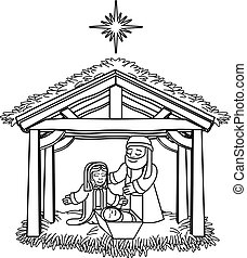 boże narodzenie, rysunek, nativity scena