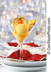 boże narodzenie, sorbet, mangowiec