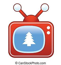 boże narodzenie, telewizja, drzewo, retro