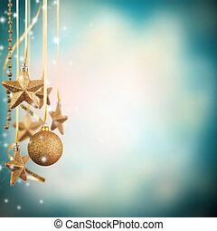 boże narodzenie, temat, z, złoty, szkło, gwiazdy, i, wolny, przestrzeń, dla, tekst