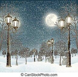 boże narodzenie, wieczorny, zima krajobraz, z, lampposts.,...