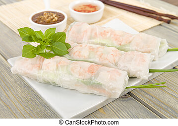 Bo Bia - Vietnamese fresh summer rolls with Chinese sausage, jicama, carrots, lettuce, egg and dried shrimp served with hoisin and peanut dip.