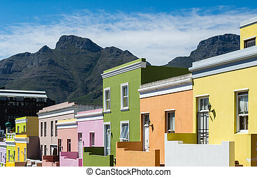 Bright painted houses at the Muslim Quarter / Malay Quarter in Cape Town, South Africa.