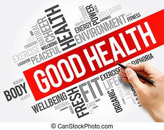 boa saúde, palavra, nuvem, colagem