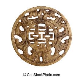 boa sorte, chinês, símbolo, ligado, pedra