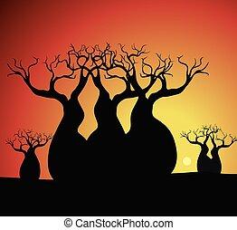 boab, (baobab), árvore, vetorial, painting., arte aborígine, vetorial, experiência.