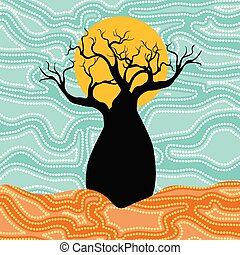 Boab (Baobab) Tree Vector Painting. Aboriginal dot art vector background.