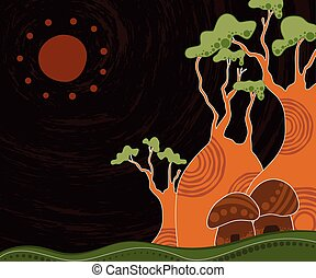 Boab (baobab) tree vector painting. An illustration based on aboriginal style of background depicting nature.