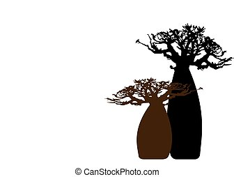 Boab or Baobab Tree background with copy space for your text, vector isolated, Andasonia tree silhouette icon. Baobabs silhouette concept sign in white background