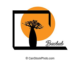 Boab or Baobab Tree Vector isolated, Andasonia tree silhouette logo icon and sunset Safari concept, Baobabs silhouette sign in white background