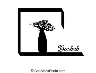 Boab or Baobab Tree Vector isolated, Andasonia tree silhouette logo icon. Baobabs silhouette concept sign isolated in white background