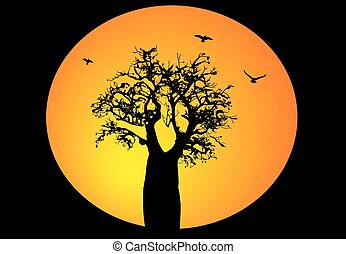 Boab tree with moon background and birds