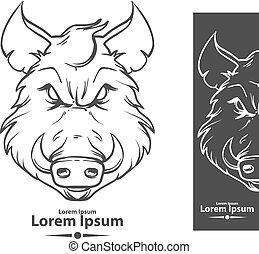 boar angry logo - boar for logo, american football symbol,...