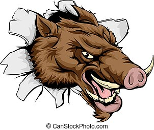 A cartoon mean Boar sports mascot bursting out of the wall or background