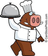 Boar Chef - A happy cartoon boar chef with a serving tray.