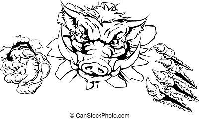 Boar claw breakthrough concept illustration of a boar mascot...
