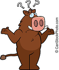 Boar Confused - A cartoon boar looking confused and...