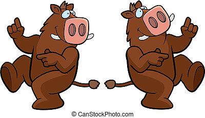 Boar Dancing - A happy cartoon boar dancing and smiling.